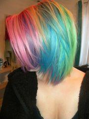 beautiful short rainbow hair