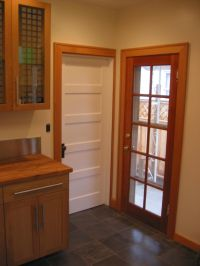 glass entry doors to kitchen