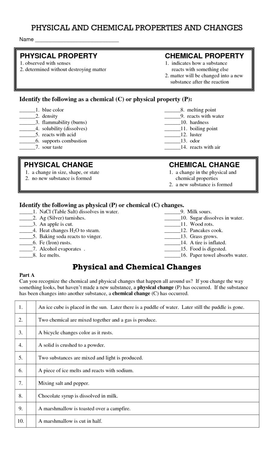 Proficiency W Ksheet Physic L Nd Chemic L Ch Nges Chemic L Nd