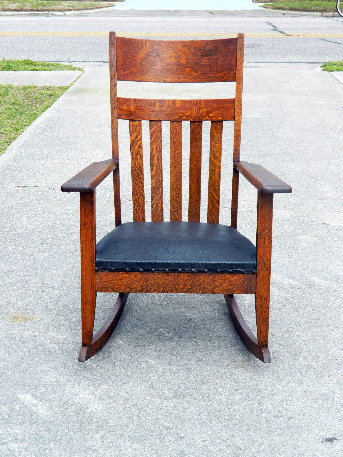 arts and crafts style chair copper real good mission tiger oak rocker circa 1900