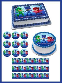 PJ MASKS 1 Edible Birthday Cake Topper OR Cupcake Topper ...