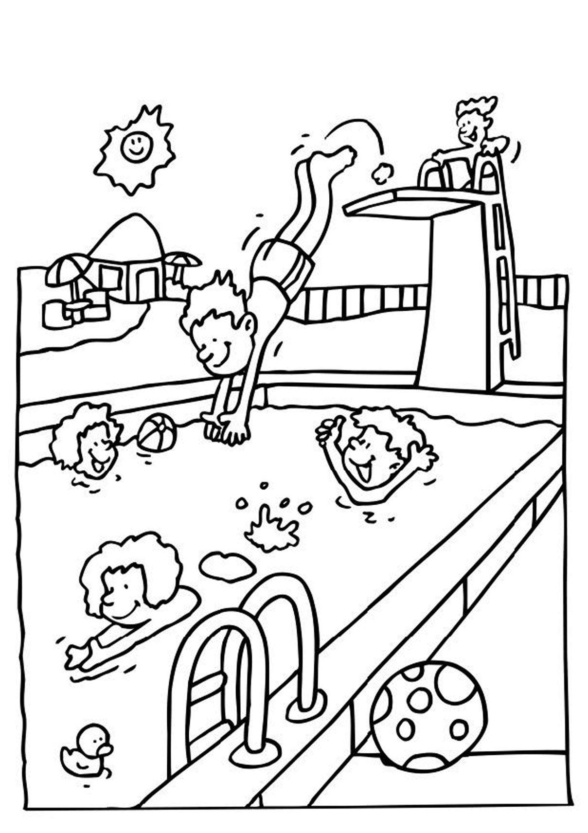 Coloriage Jeux à la piscine et dessin à colorier Jeux à la