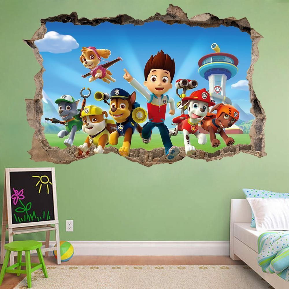 PAW PATROL 3D WALL STICKER SMASHED BEDROOM Kids decor