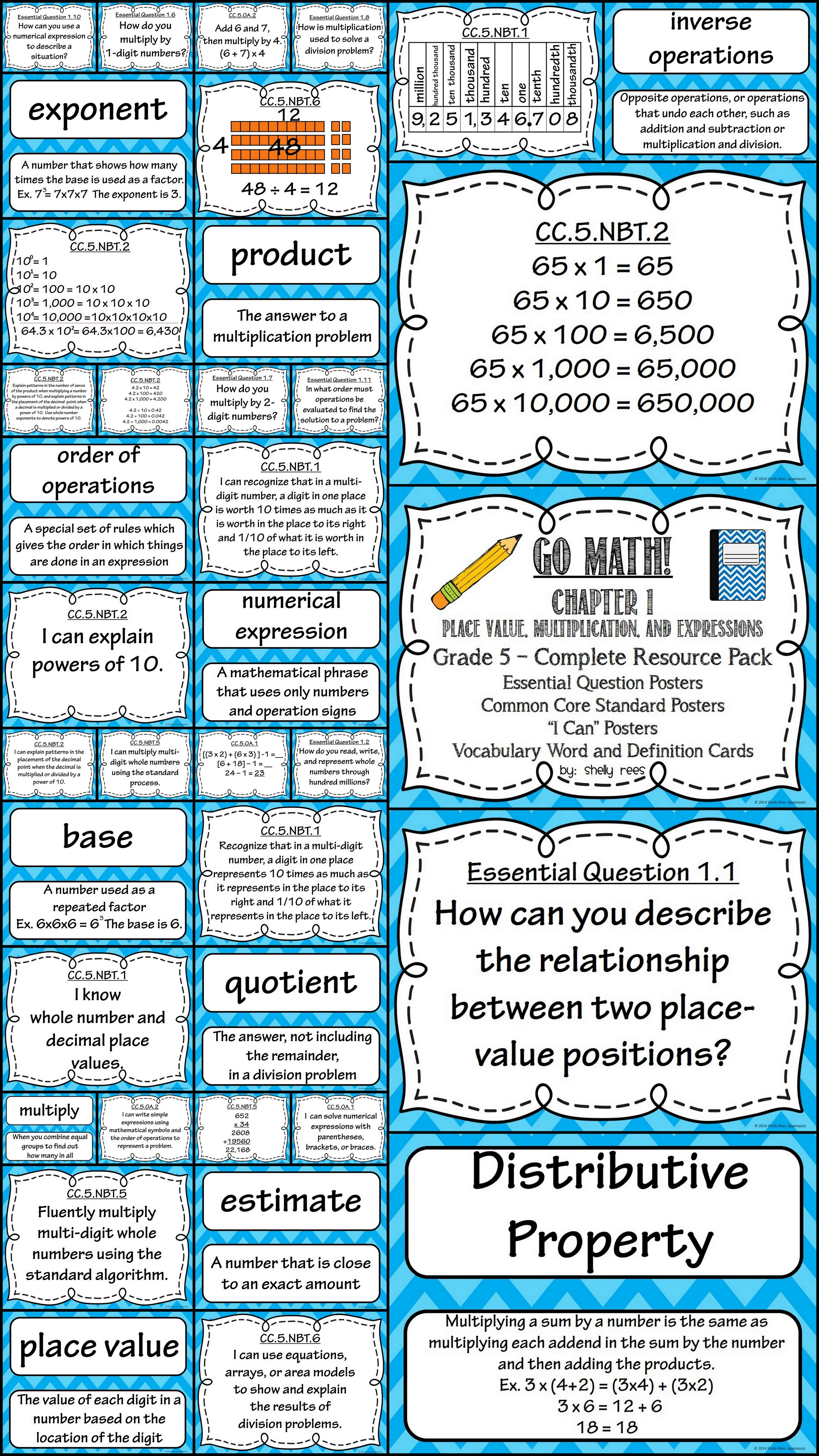 Go Math Chapter 1 5th Grade Resource Packet