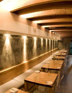 The carne restaurant interior by inhouse brand architects wall decorated with lights room design ideas also contemporary hanging lamp our resto rh pinterest