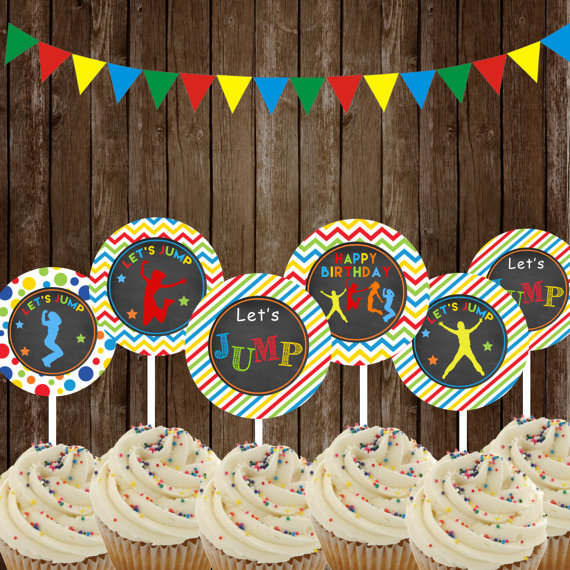 Jump Cupcake Toppers Jump Party Printable Jump By TheLovelyDesigns