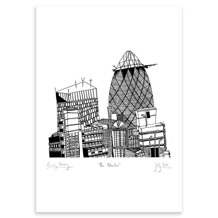 Gherkin London Print