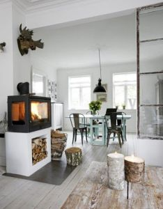 Great idea for the woodstove and to add storage below totally going see if we can do this danish home interior design also zwart wit  hout inspiratie zomers lekker licht scandinavisch rh za pinterest