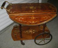 Antique Italian Inlaid Drop Leaf Rolling Tea Cart Trolley ...