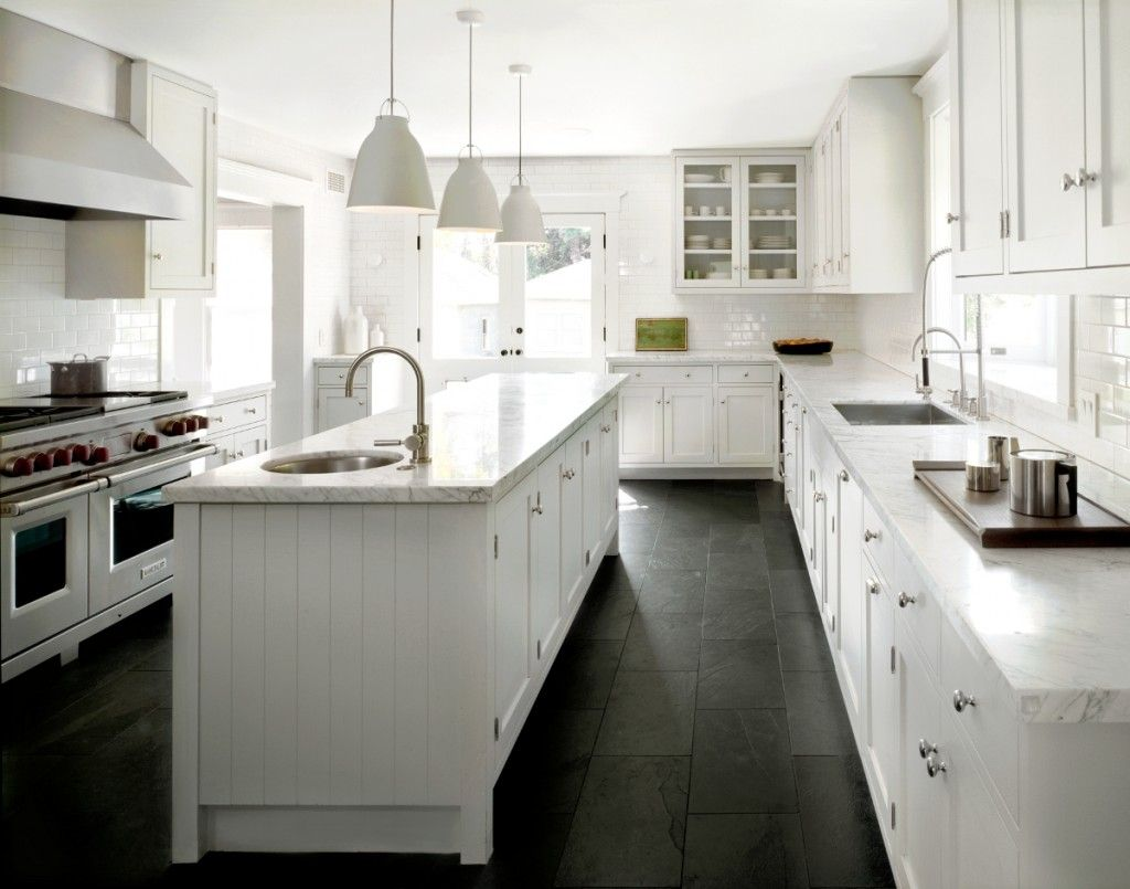 white kitchen floors light fixtures home depot classic with black slate floor and