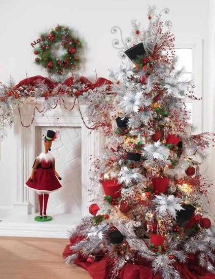 Images Of Christmas Trees Decorated With Top Hats Tree Red White Black