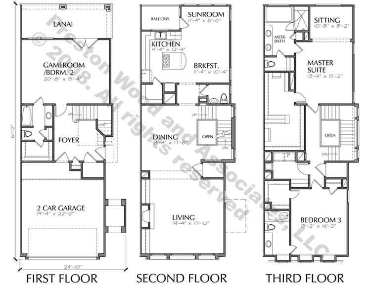 Town House Building Plan, New Town Home Floor Plans