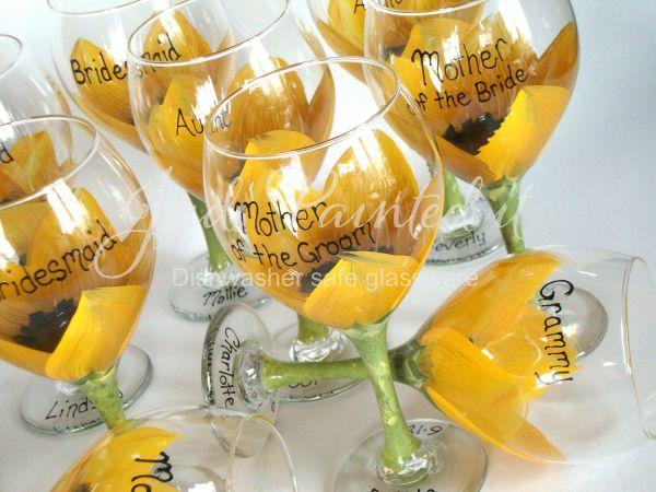 Sunflower Wedding Decor Bridal Party Wine Glasses Favors Reception Table