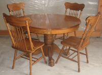 Antique 47 inch round oak pedestal claw foot dining room ...