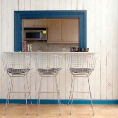 Pass Through Kitchen Window Outdoor Kits Lowes Vintage Metal Barstools Sit In Front A From