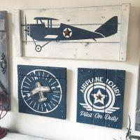 VINTAGE AIRPLANE wall decor, 3 pc set, boys vintage ...