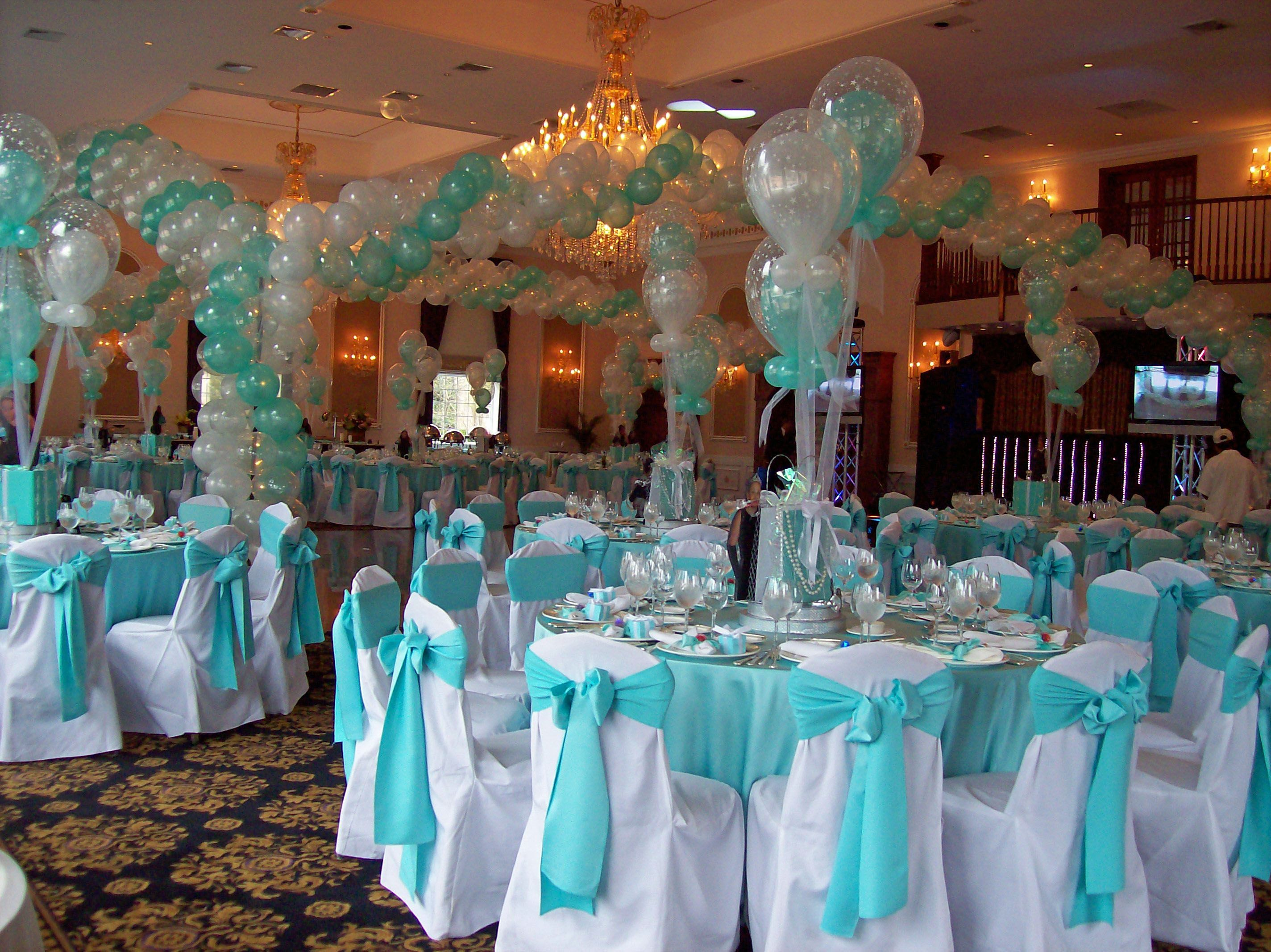 tiffany blue wedding chair covers makeup table party room sweet 16 bday pinterest