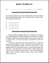 Free Printable Brain Teasers Puzzle #1 | Student Handouts ...