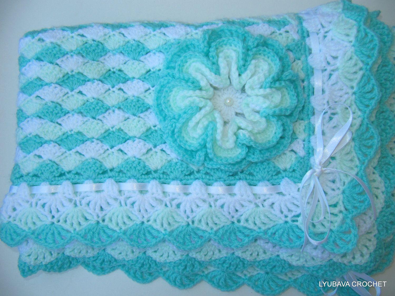 Crochet PATTERN Baby Blanket Turquoise Sea Shell, Baby