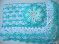 Crochet PATTERN Baby Blanket Turquoise Sea Shell, Baby