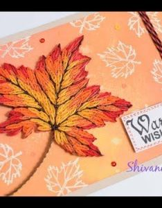 Quilling maple leaf greeting card handmade autumn youtube also rh pinterest