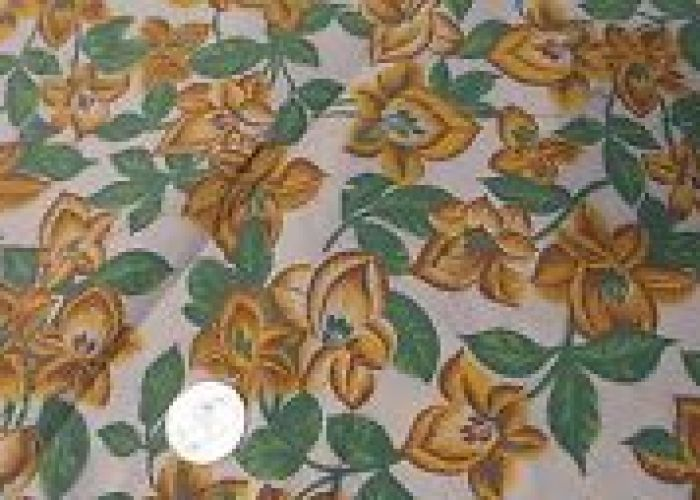 Vintage feed sack feedsack fabric golden yellow brown floralshades green leaves also