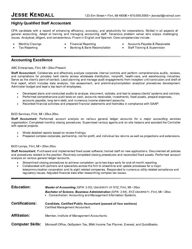 Good Accounting Resume Examples