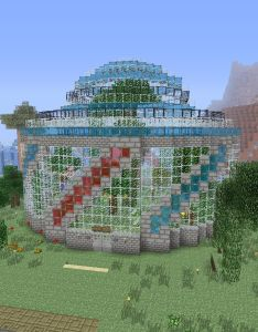 Butterfly habitat greenhouse in minecraft love the stained glass also rh pinterest