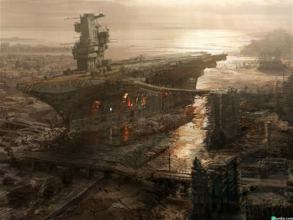 Rivet City Concept Art Fallout 3 Post-apocalyptic