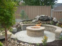 CONCRETE GRILL PAD AREA | Circular Paver Patio with Fire ...