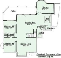 ranch style open floor plans with basement | Areas colored ...