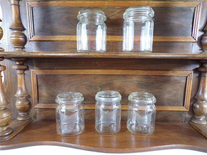 lot de 5 bocaux vintage avec couvercle de 1 litre fermeture metal deco retro cuisine vintage