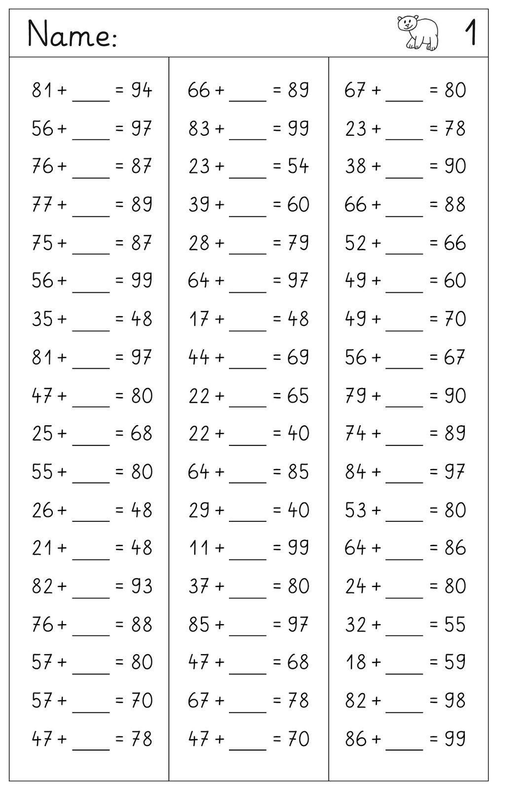 Hier Im Zahlenraum Bis 100 Platzhalteraufgaben Ohne Ubergang Und Ein Paar Aufgabensammlungen