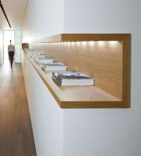 Interior architecture: wood shelf with in-built light ...