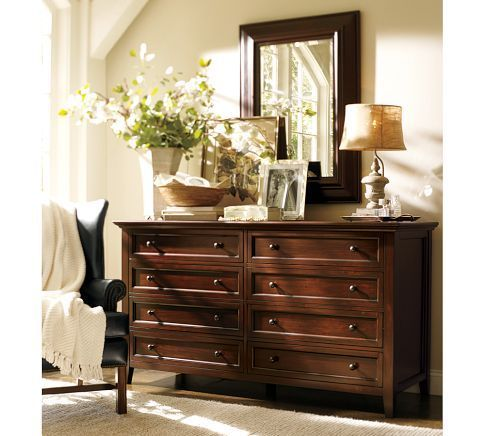 hudson extra-wide dresser, mahogany stain | hanging mirrors