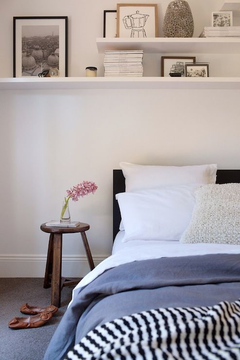 Adore Magazine  bedrooms  shelves over bed  Decorating