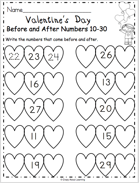 Free Valentine's Day math worksheet for preschool and
