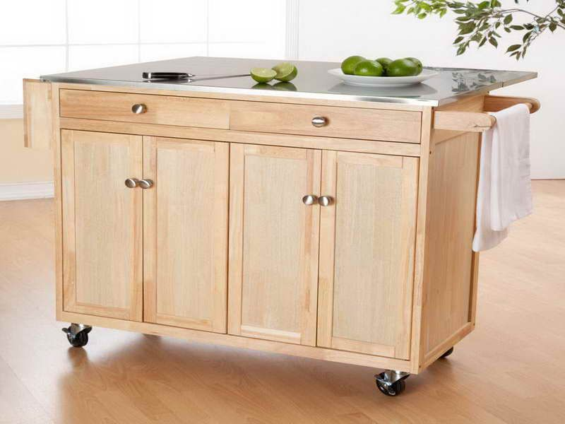 Wooden Portable Kitchen Island Wheels  Studio Apartment