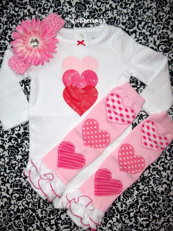 Baby Girl First Valentines Day Onesie Outfit Pink By GinaBellas1 2950 MaKenzie Pinterest