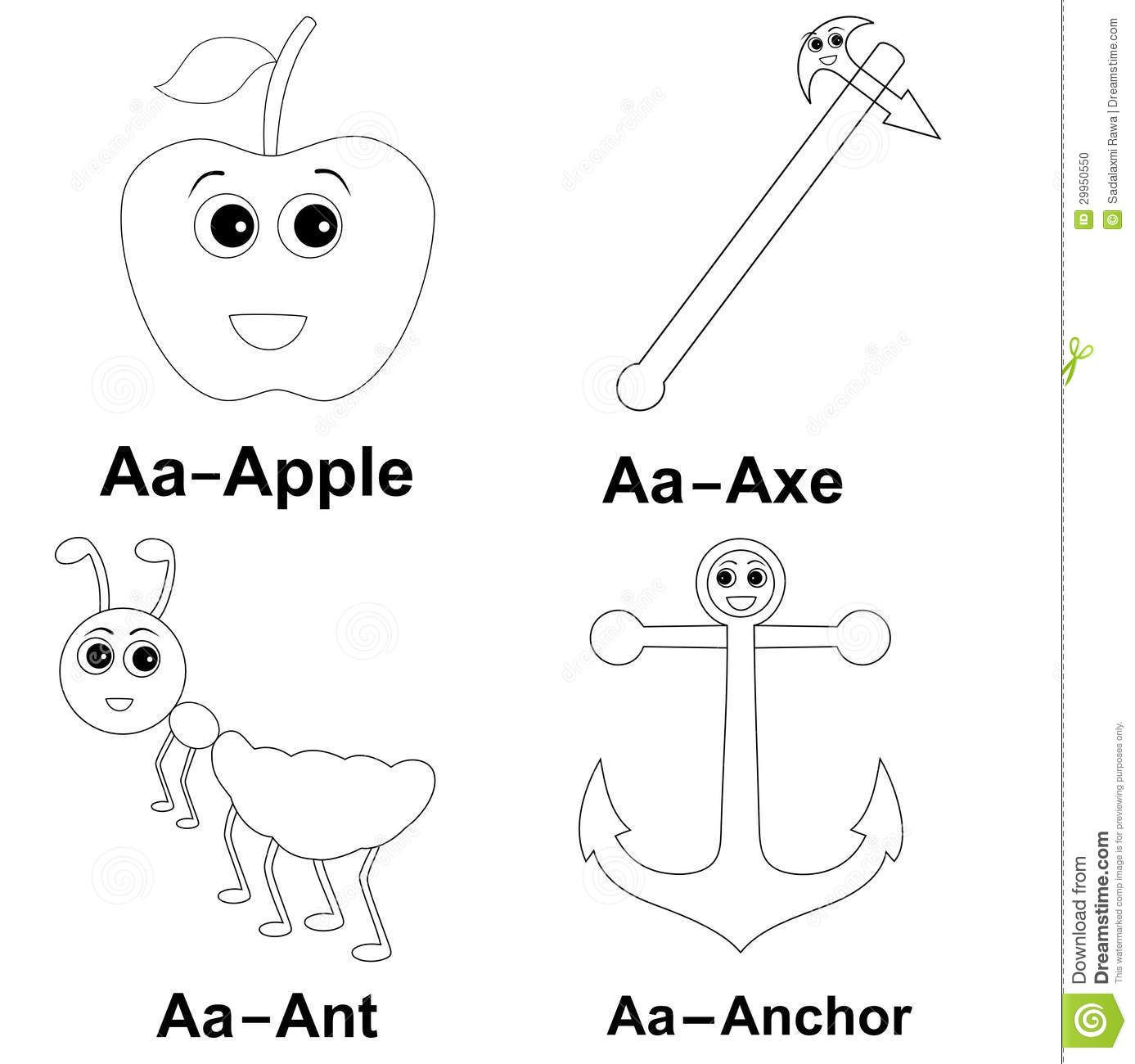 Words With Picture A For Apple A For Ant Kids Learning Coloring Page