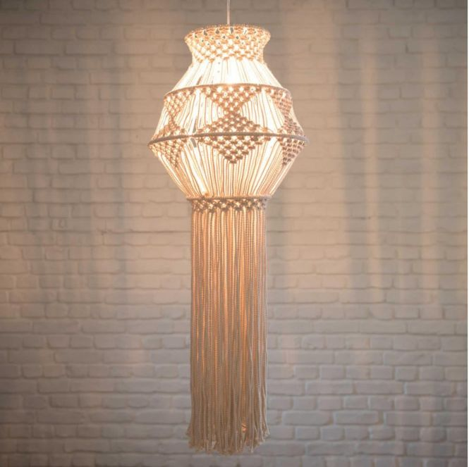 Macramé Chandelier Macrame Decorative Wall Hanging Lamp Shade By Moulinenfolie On Etsy