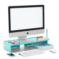 Poppin Aqua Monitor Riser | Modern Desk Accessories | Cool ...