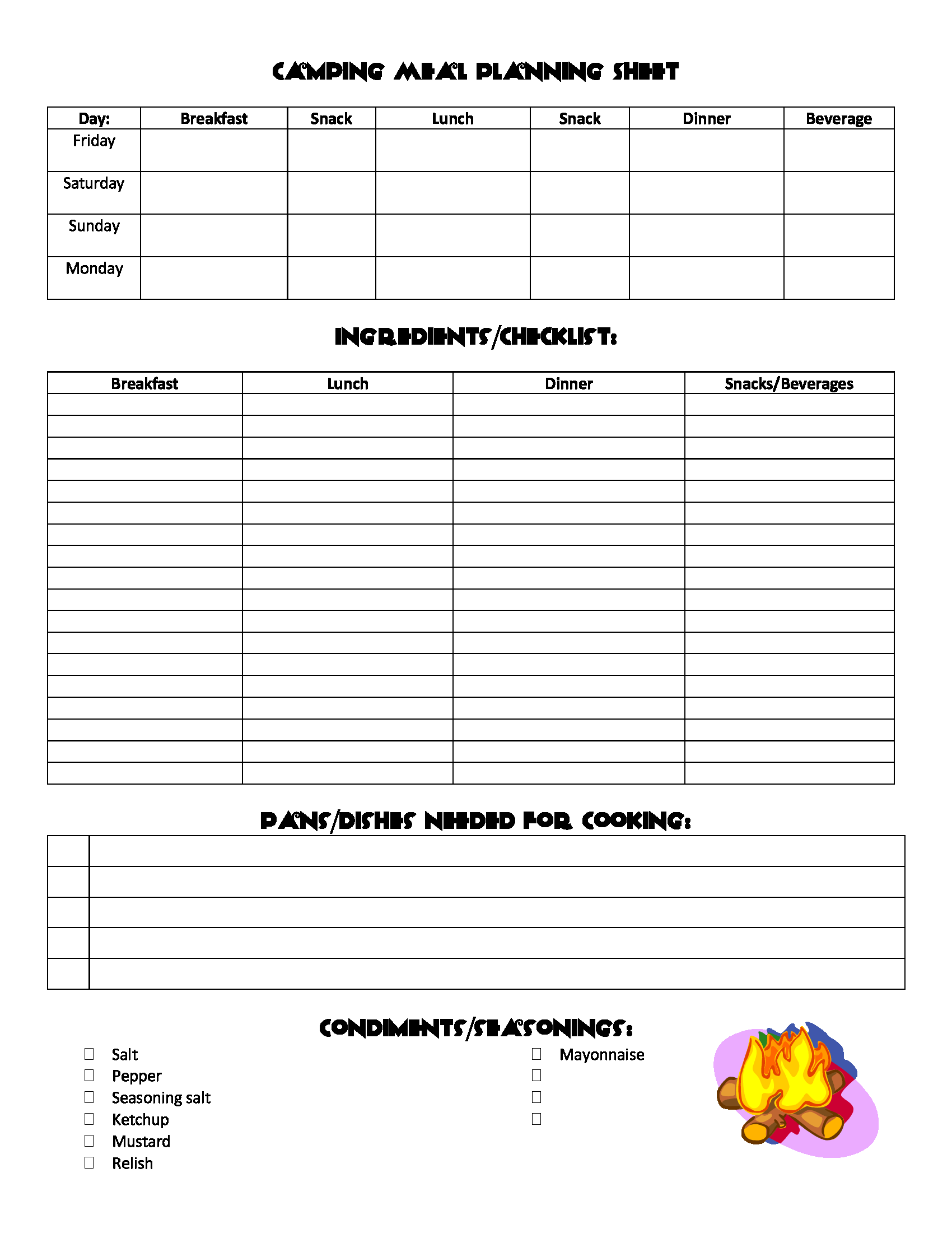 Camping Meal Planning Sheet