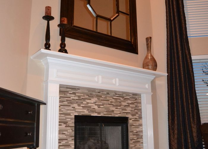 Posts about glass mosaic tile fireplace written by leslie also after living dining kitchen pinterest rooms