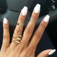 Spring White Coffin Shape Nails | .mine. | Pinterest ...