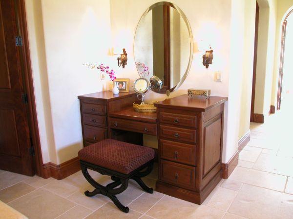 Spectacular Brown Wooden Makeup Vanity Double Side Storage