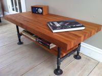 Cherry coffee table, modern industrial style featuring ...