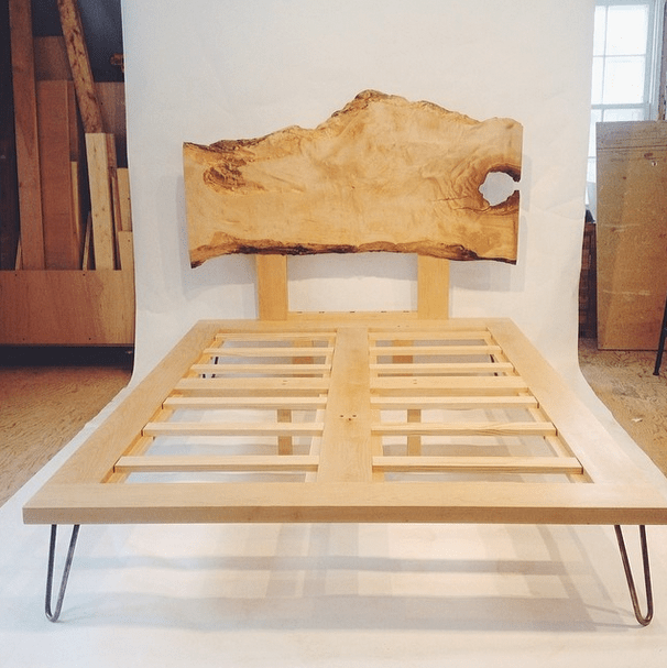 Hairpin leg bed with live edge headboard
