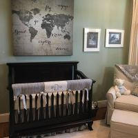 Grey crib bedding in a travel theme nursery and we added ...