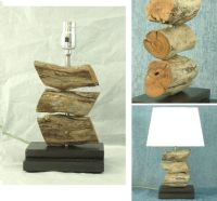 Stacked driftwood lamp with dark stained wood base. Beach ...